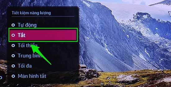 Chế độ tiết kiệm điện làm giảm độ sáng của màn hình tivi